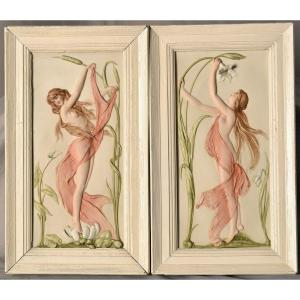 Paire De Reliefs En Biscuit Art Nouveau. Allemagne.
