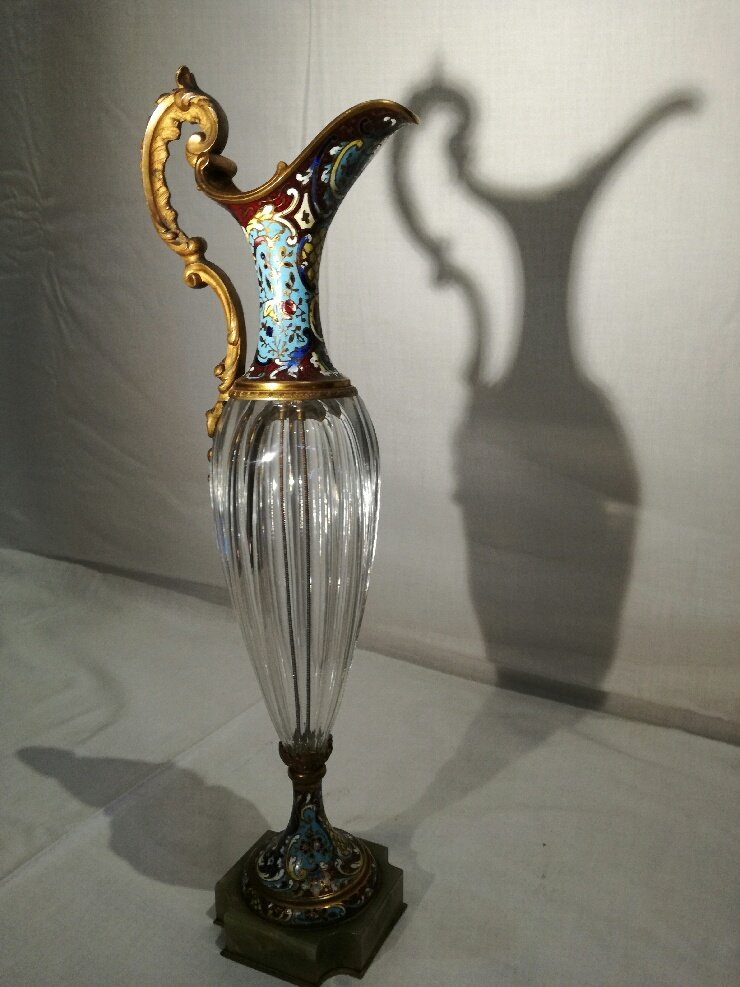 2 Ewers In Crystal, Enameled Bronze And Onyx