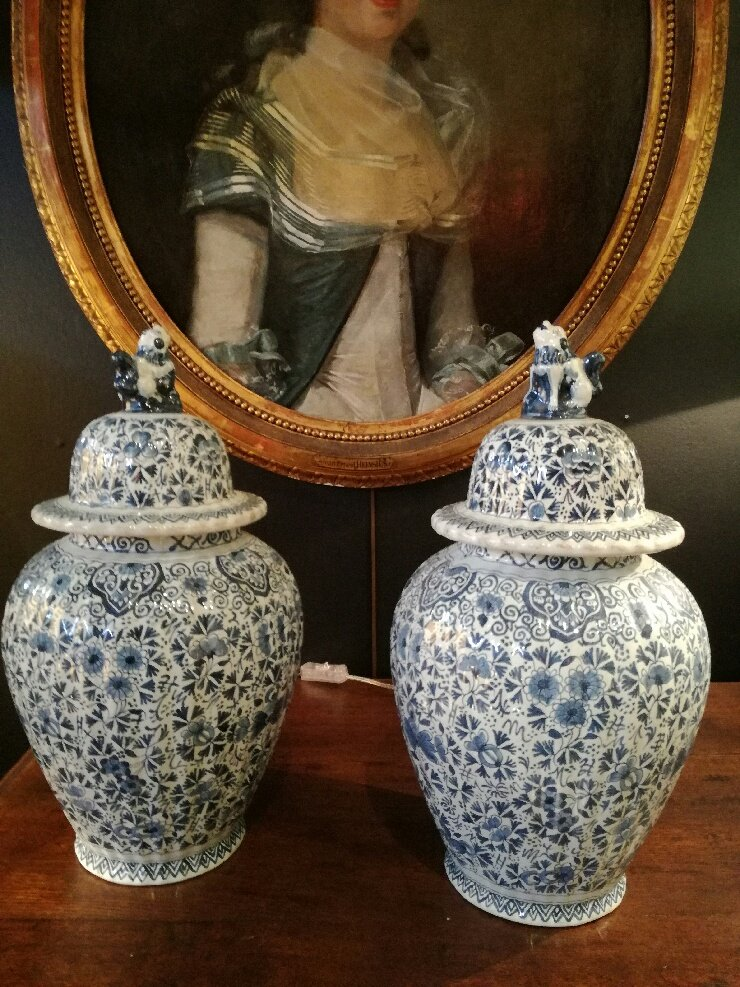 Pair Of Earthenware Vases, Lille Factory