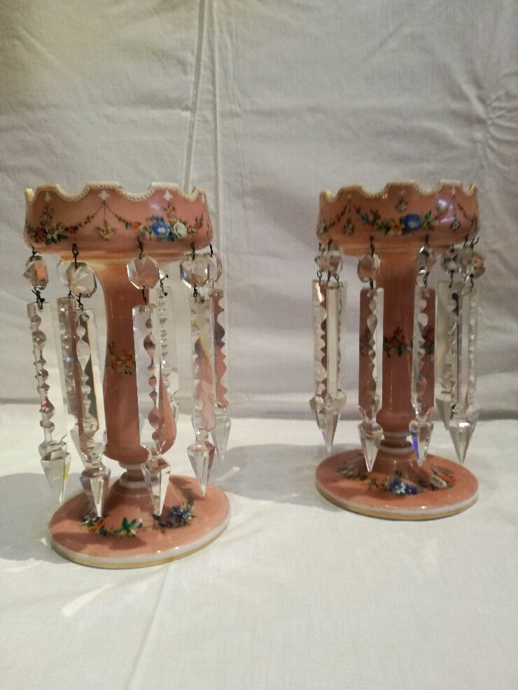 2 Pineapple Holder In Opaline, With Tassels, Napoleon III