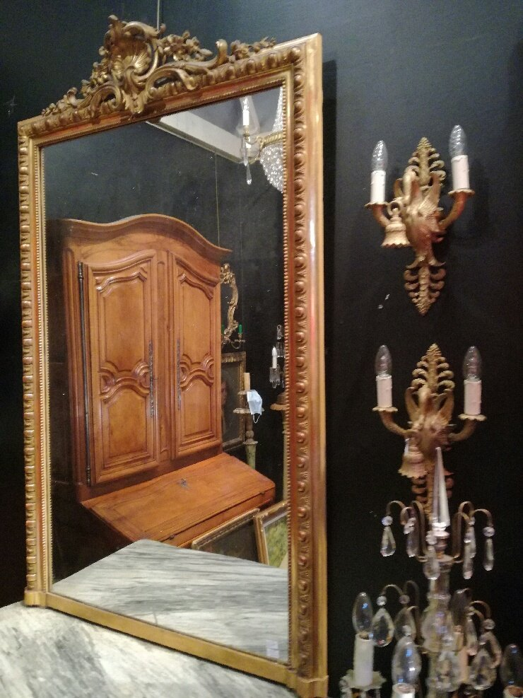 Large Mirror Gilded With Fine Gold, Circa 1850