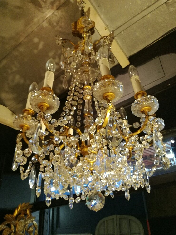 Chandelier With 9 Lights, In Baccarat Crystal And Bronze, Signed. 20th Century, Circa 1940