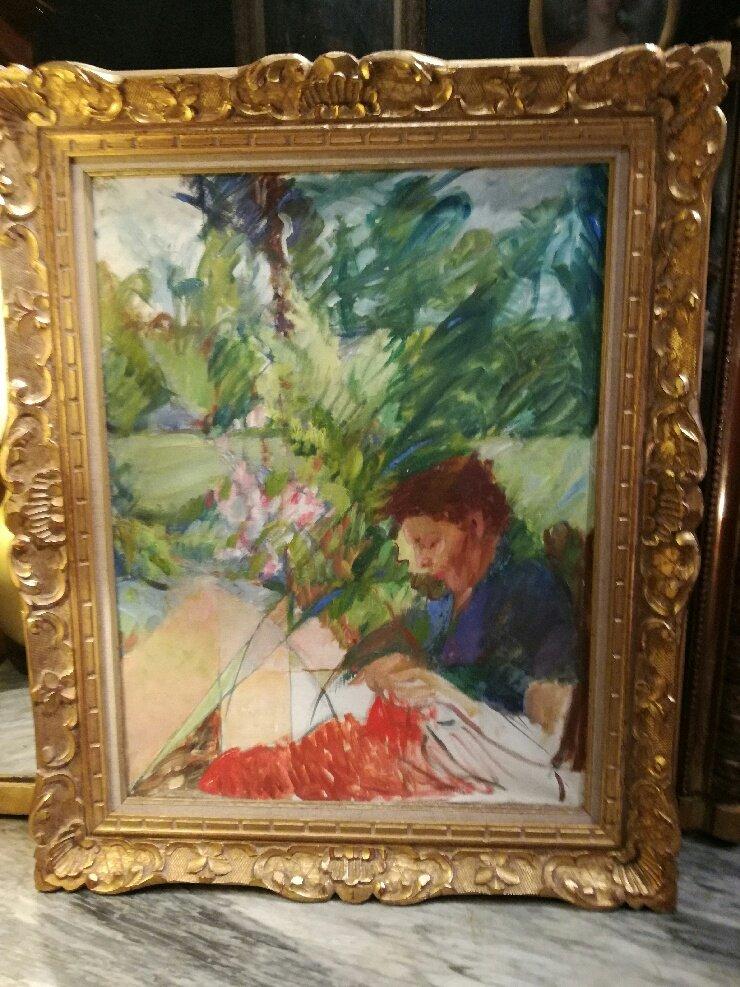 Huile sur toile 20ème siècle, femme au tricot
