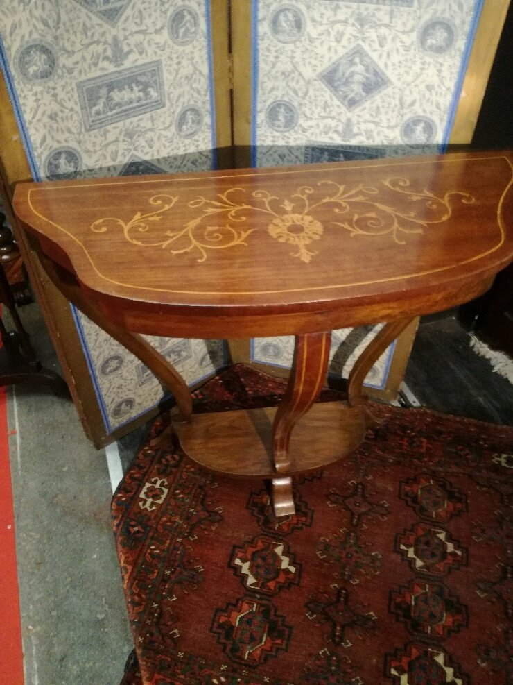 Walnut Console With Cut-out Top With Pear Wood Flower Marquetry