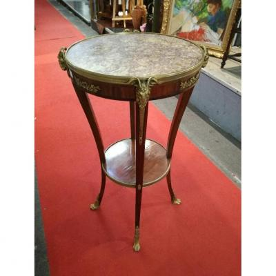 Pedestal Table With Spacer, 4 Feet Decorated With Bronzes, Marble Top Surrounded By Bronze;
