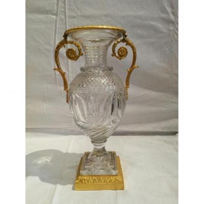 2 Baccarat Crystal Vases With Bronzes