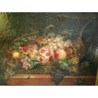 Peinture huile sur toile. Nature morte aux fruits. Napoléon III