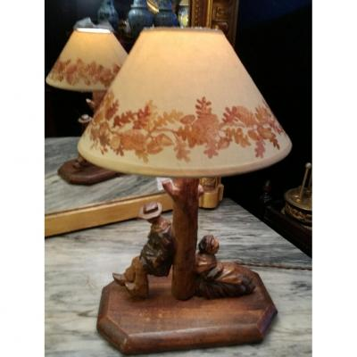 Lamp In Carved Wood, Circa 1880, Lampshade With Stenciled Decoration