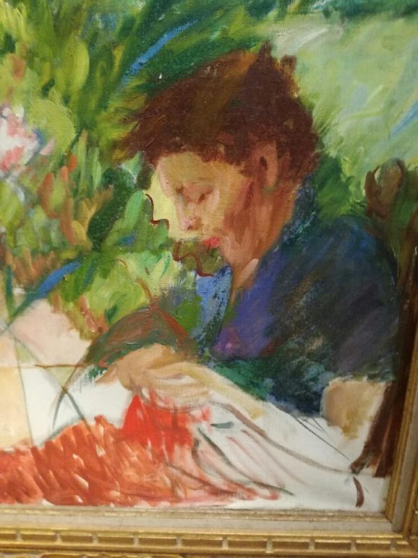 Huile sur toile 20ème siècle, femme au tricot-photo-2