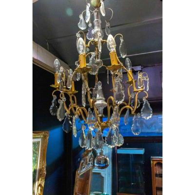 Crystal And Bronze Chandelier 6 Lights