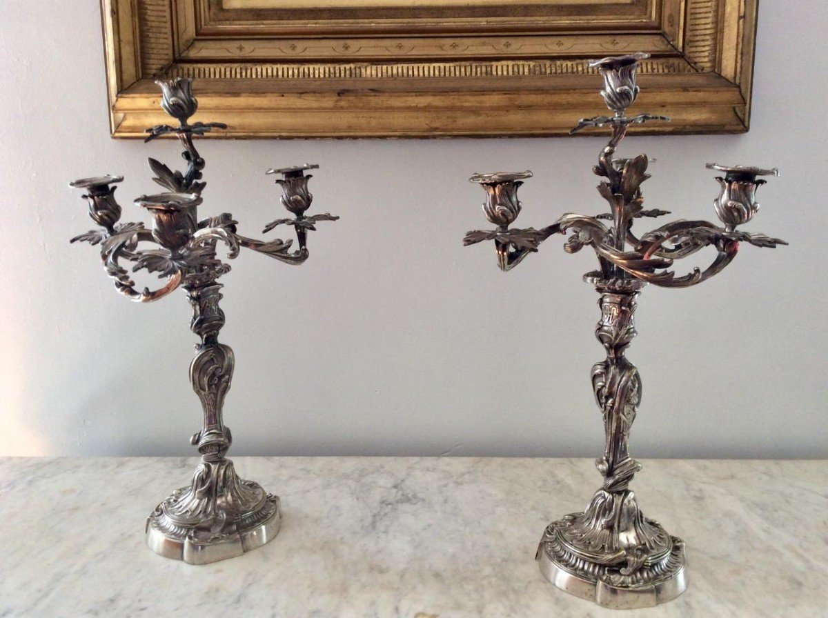 Paire De Chandeliers Rocaille - XIXème