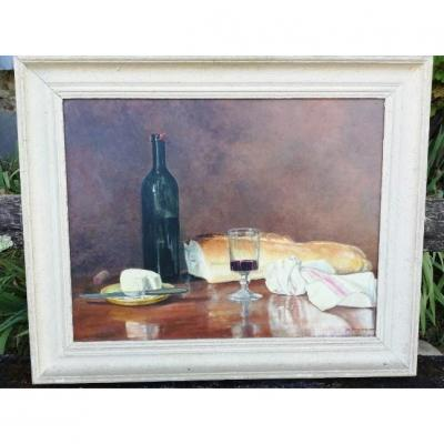 Large Still Life With The Wine Bottle