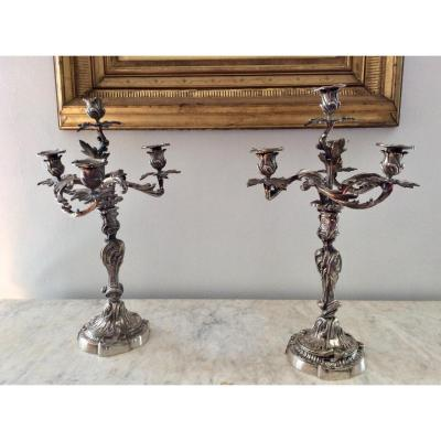 Pair Of Rocaille Candlesticks - XIXth