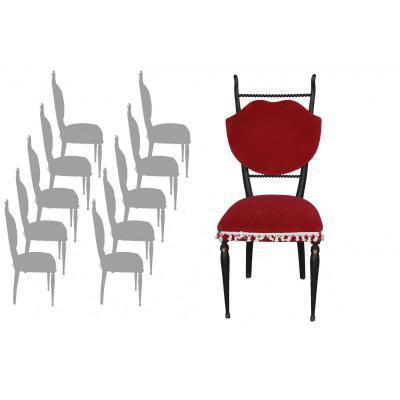 S rie de 10 chaise peinte noir velours rouge 1950 - Chaise paysanne rouge ...