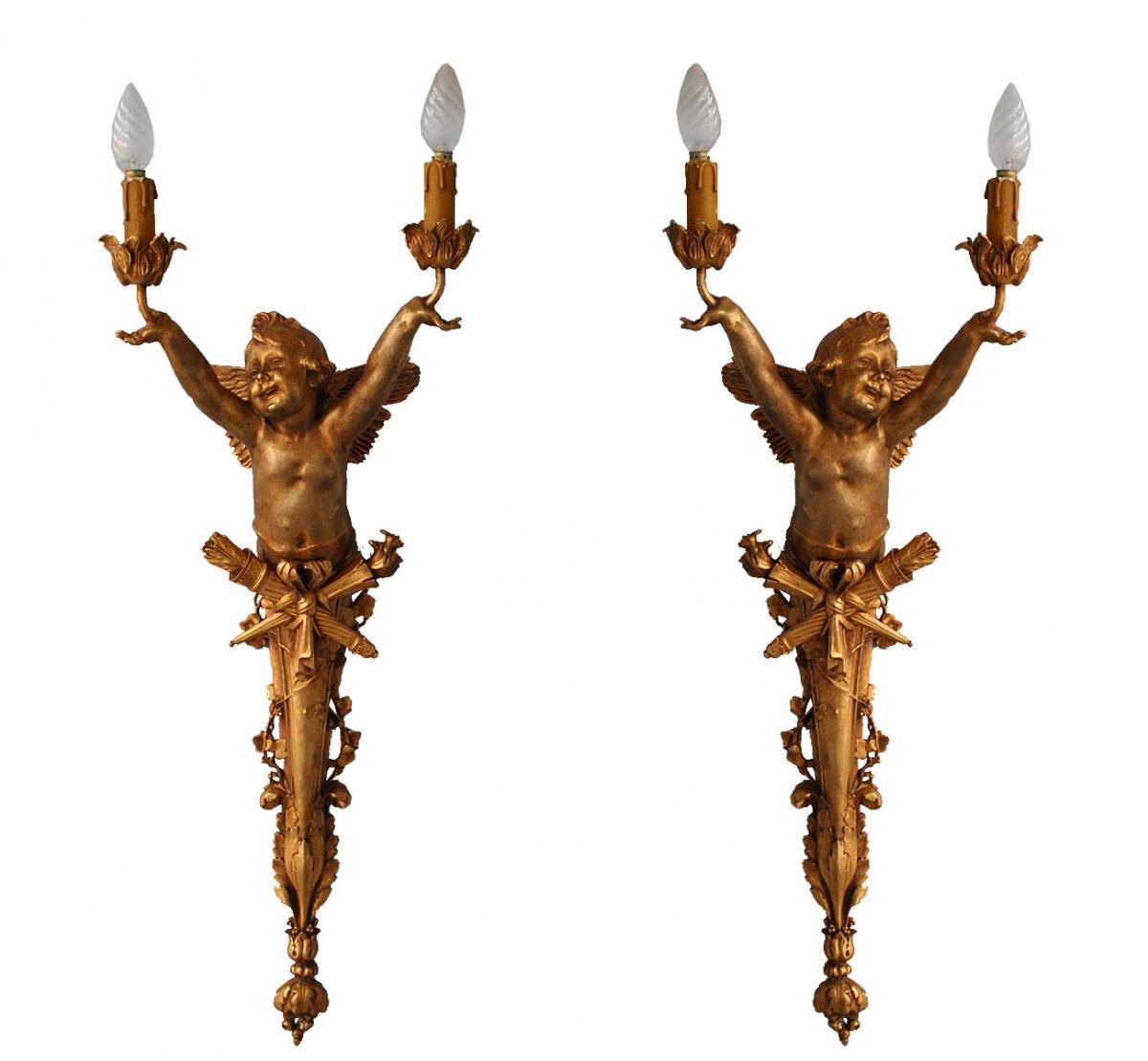 Paire Grandes Appliques Art Nouveau Bronze Doré Aux Bébés 77 Cm