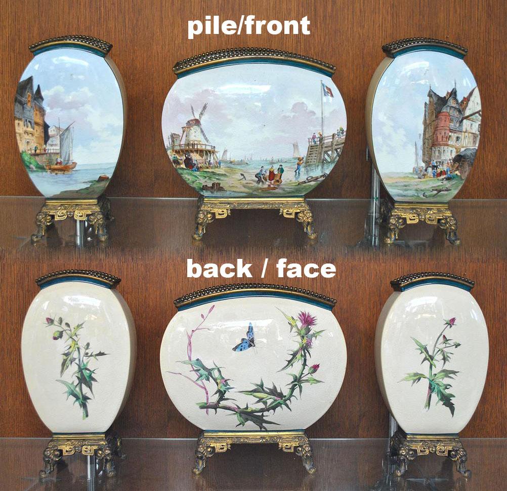 Garniture De Cheminée Faïence De Saint Denis Bi-face époque XIXème