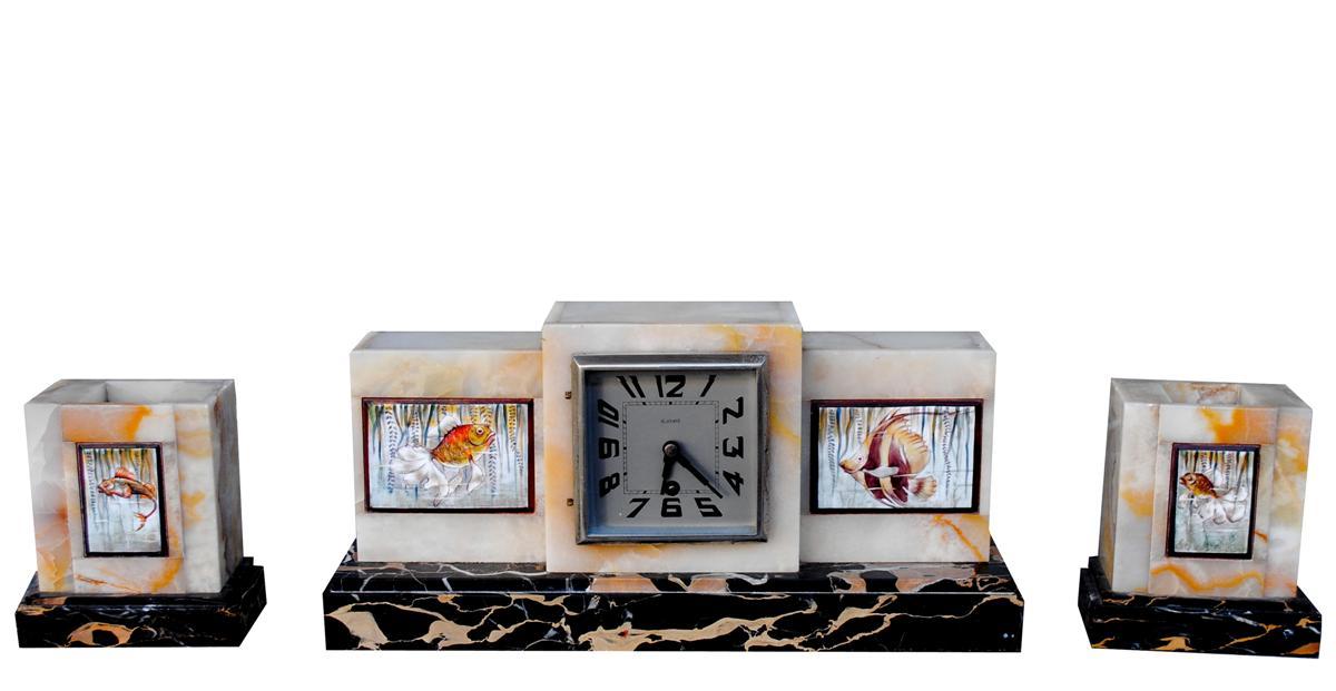 Pendule Garniture Art Déco Onyx Et Marbre Portor Aux Poissons 1930