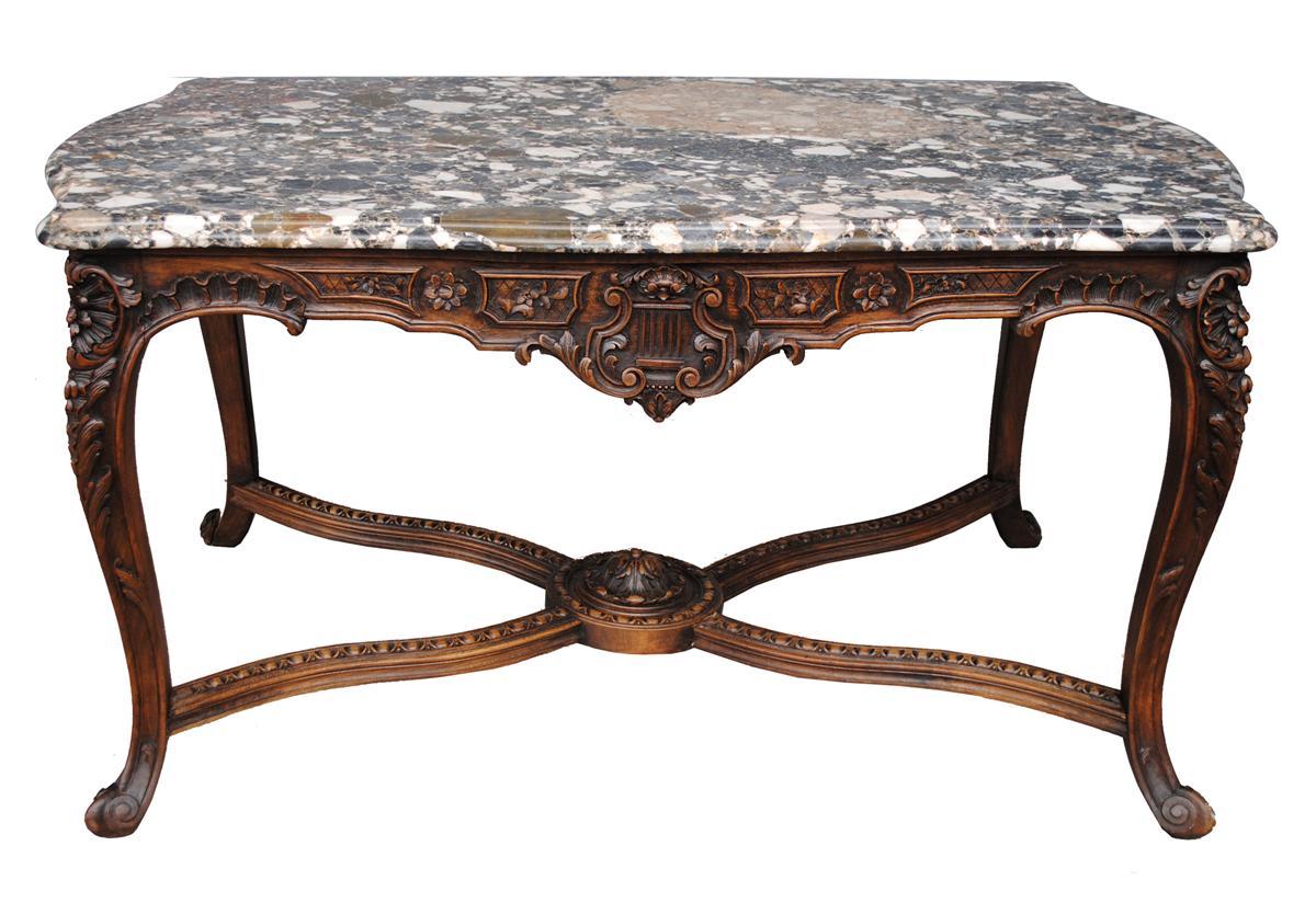 Magnifique Table à Gibier De Style Louis XV Marbre Brèche