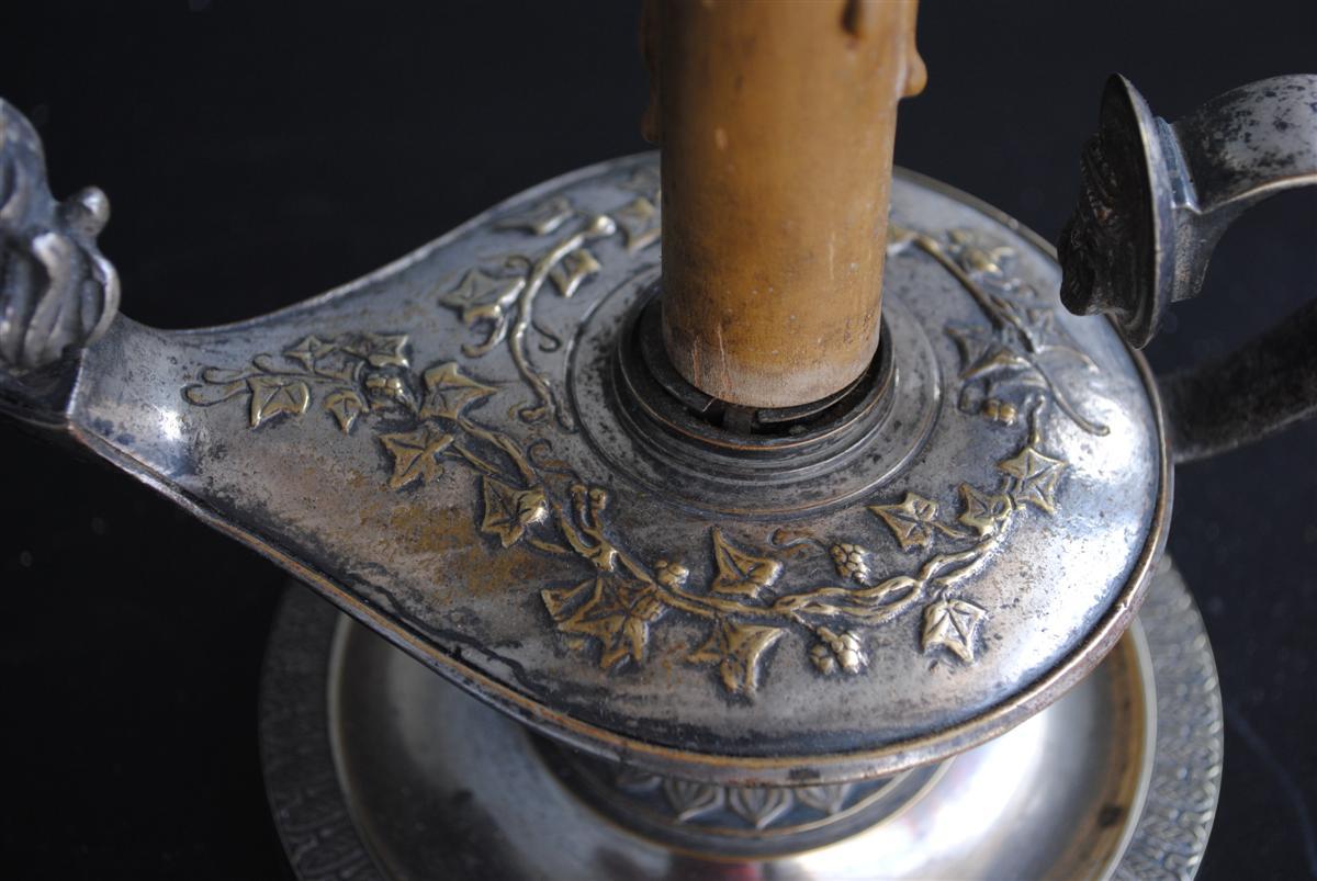 Lampe Bouillotte De Style Empire époque XIXème Métal Argenté-photo-3