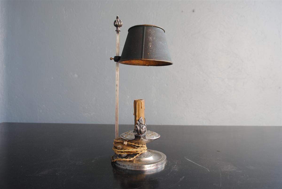 Lampe Bouillotte De Style Empire époque XIXème Métal Argenté-photo-2