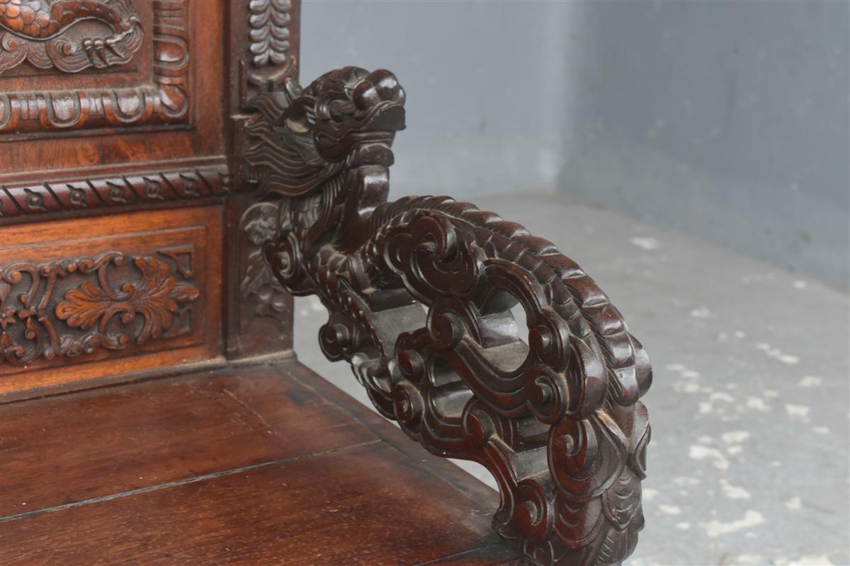 Paire De Fauteuil Asiatique Palissandre époque XIXème-photo-4