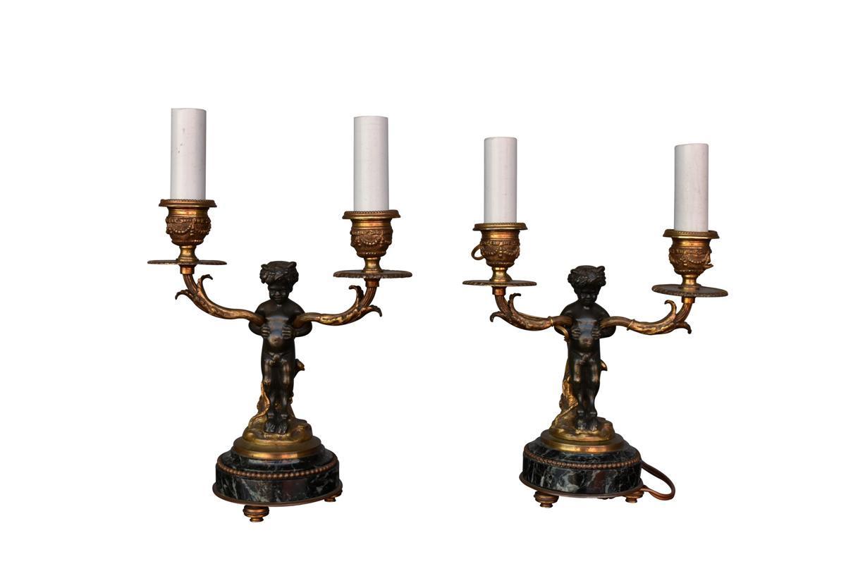 Bougeoir De Style Louis XVI En Bronze Doré Et Patine