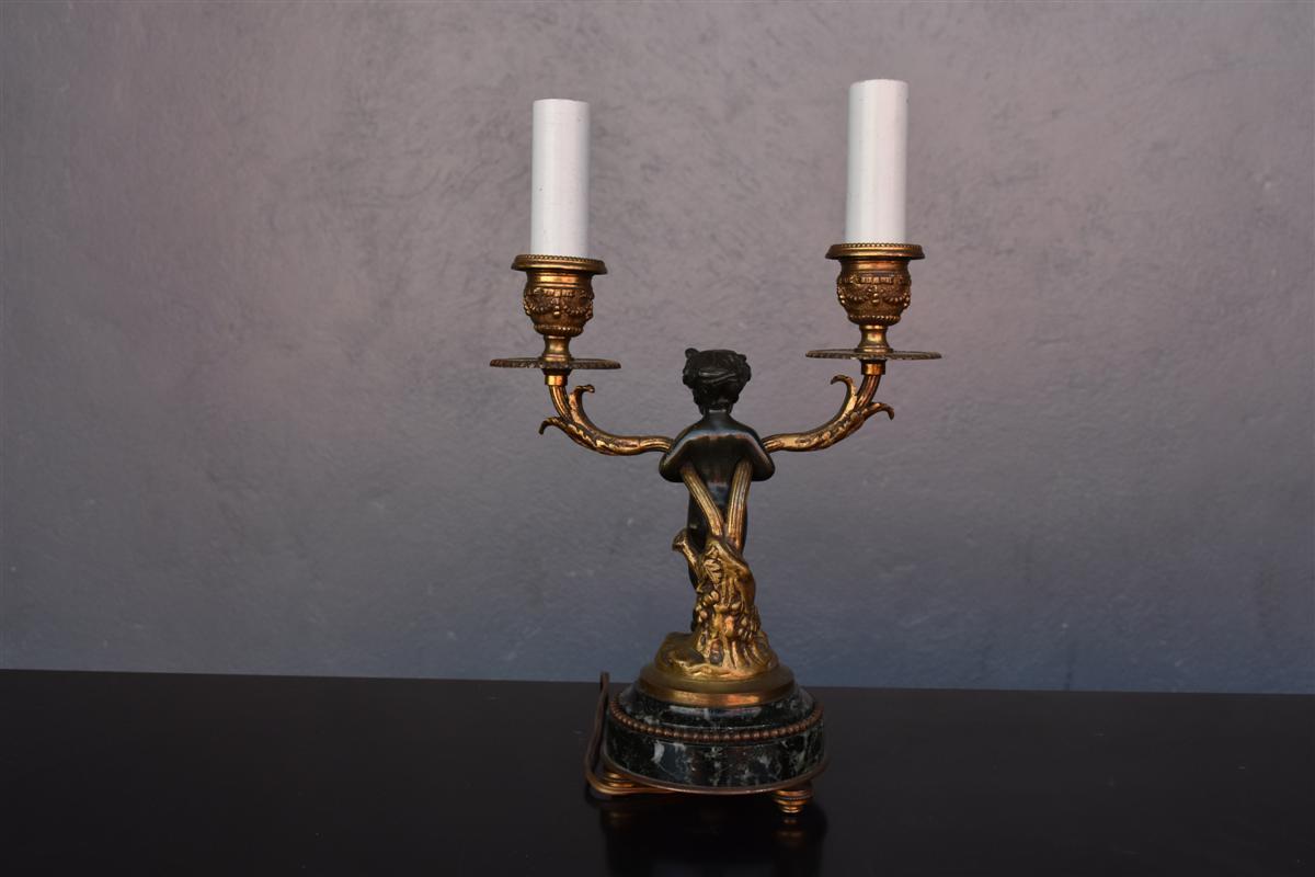 Bougeoir De Style Louis XVI En Bronze Doré Et Patine-photo-4