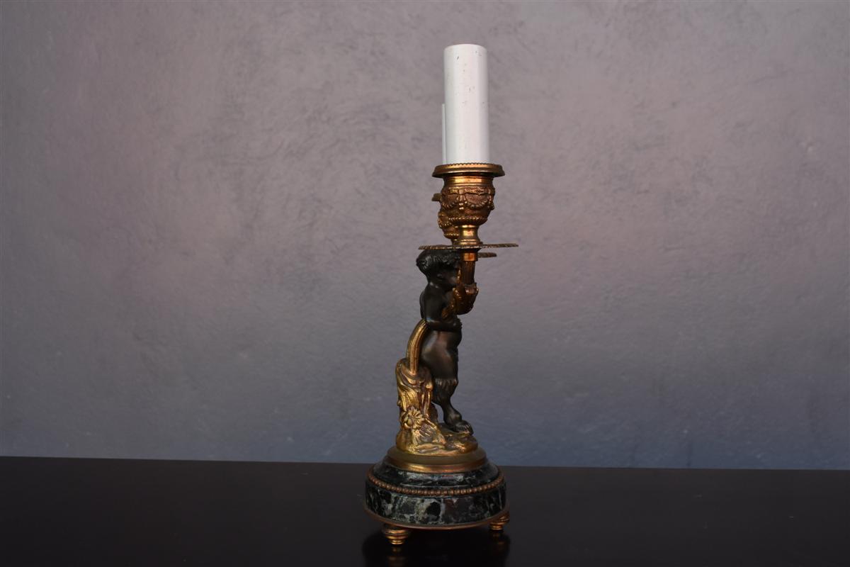 Bougeoir De Style Louis XVI En Bronze Doré Et Patine-photo-1