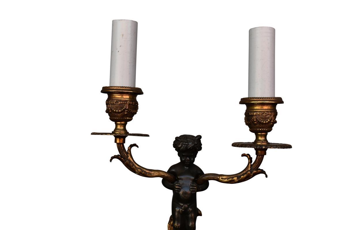 Bougeoir De Style Louis XVI En Bronze Doré Et Patine-photo-2