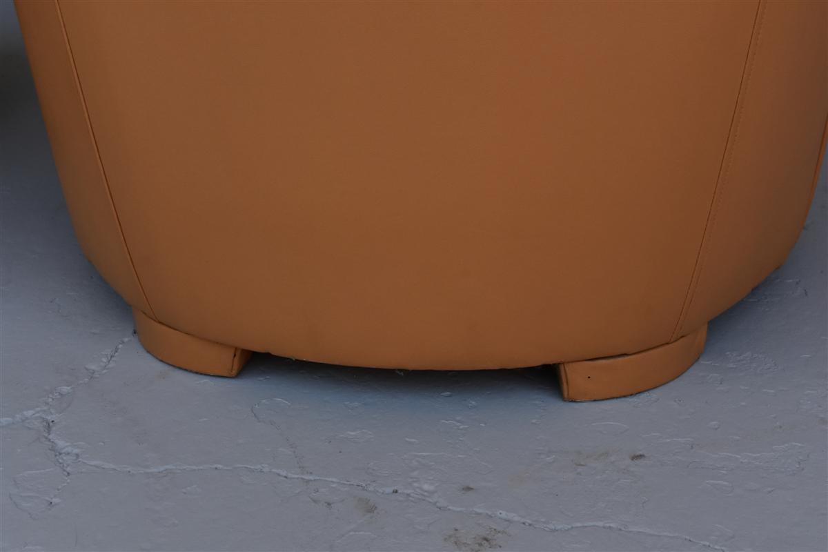 Paire De Fauteuil Art Déco Type Paquebot En Cuir -photo-5