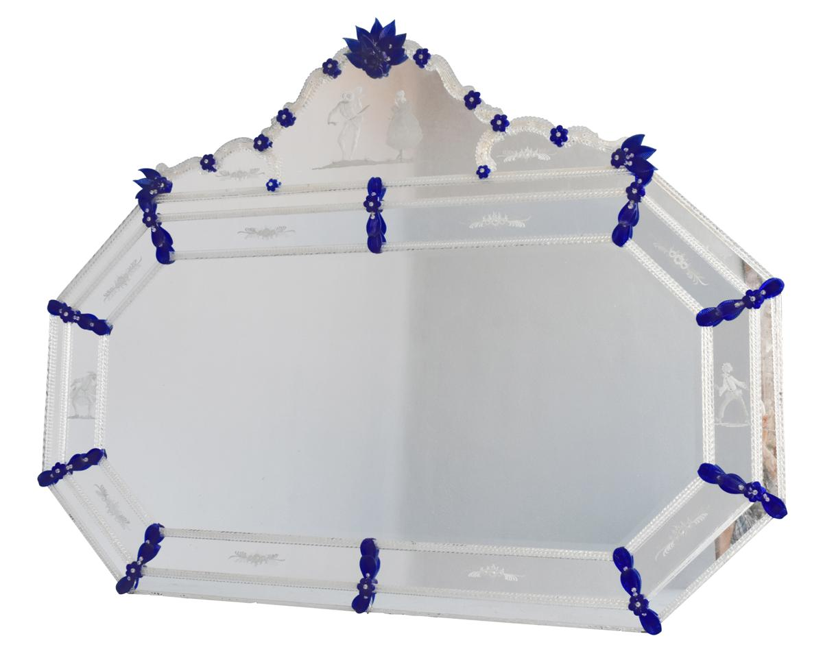 Large Venetian Glass Two-tone Engraved Glass Octagonal