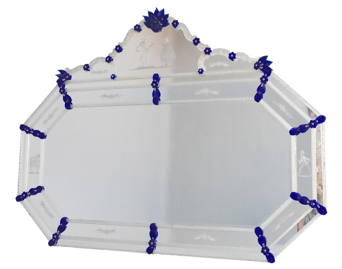 Grande glace v nitienne bicolore verre grav octogonale miroirs for Grande glace