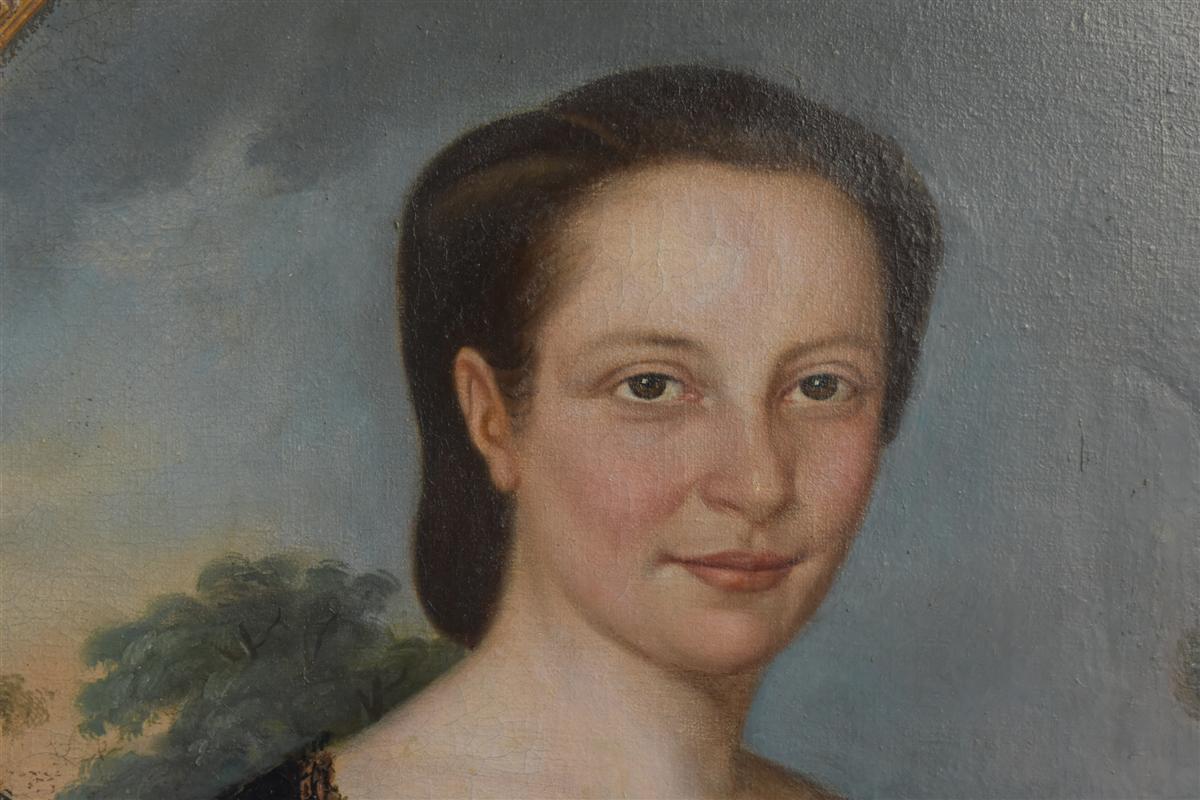 Portrait En Médaillon Jeune Femme époque XIXème -photo-2