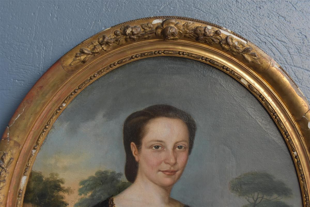 Portrait En Médaillon Jeune Femme époque XIXème -photo-4