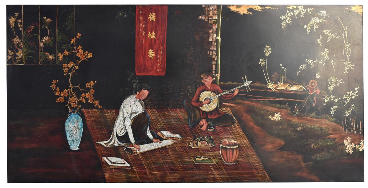Grand Panneau En Laque De Hanoi  Jeunes Musiciens Dimension 122 Cm Sur 61 Cm