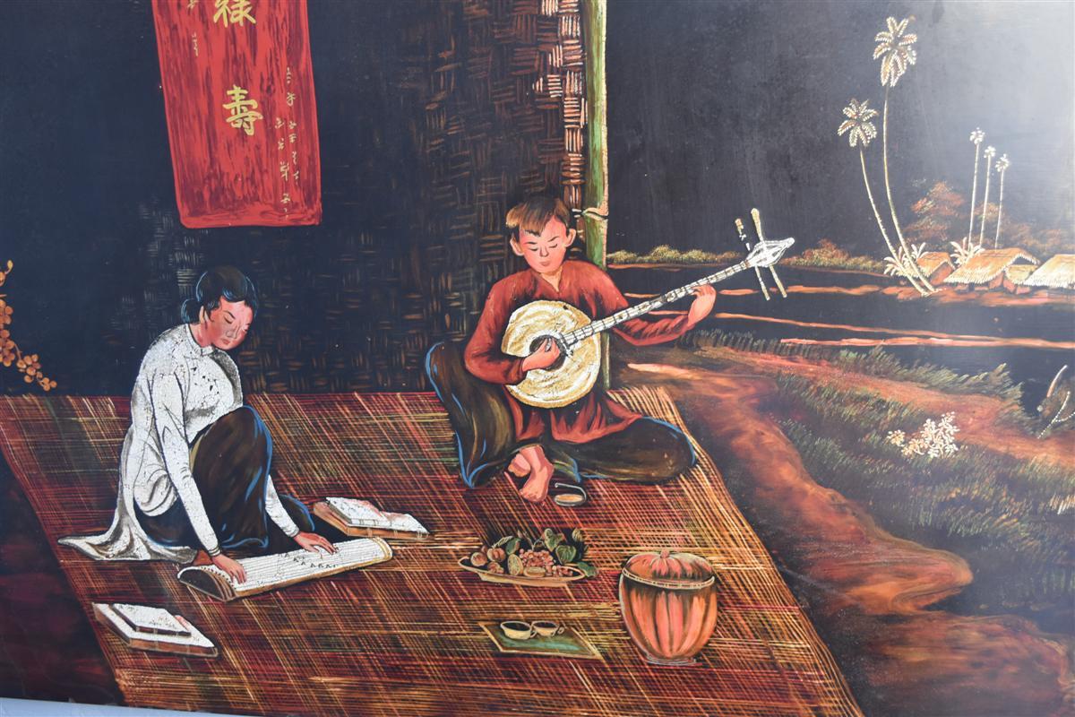 Grand Panneau En Laque De Hanoi  par Thanh Lap Dimension 122 Cm Sur 61 Cm-photo-3