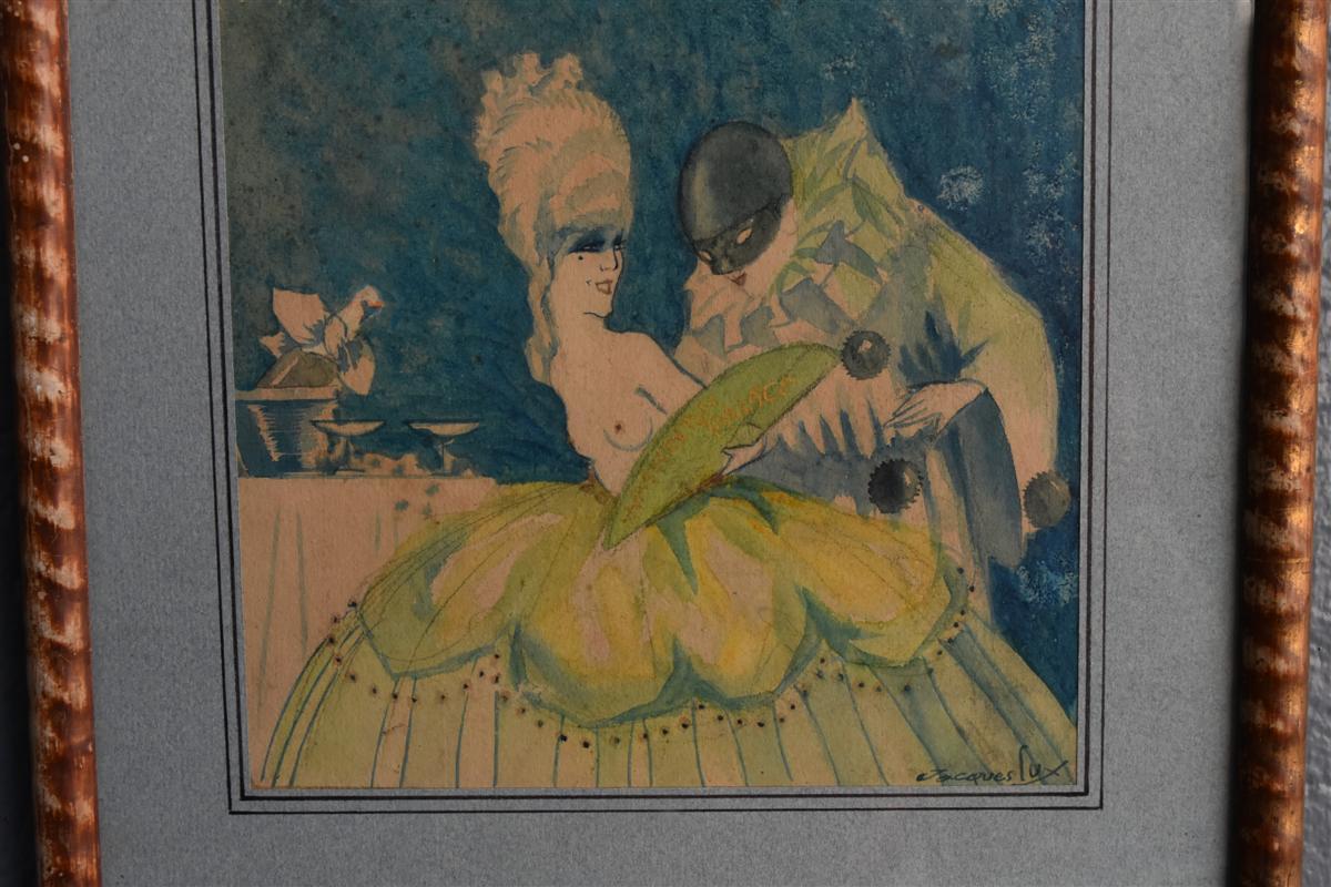 Projet d'Affiche Aquarelle Signé Jacques Lux Polichinelle Coquin Vers 1900-photo-2