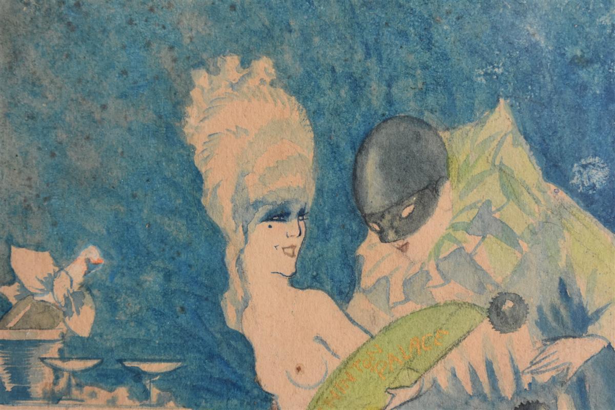 Projet d'Affiche Aquarelle Signé Jacques Lux Polichinelle Coquin Vers 1900-photo-1