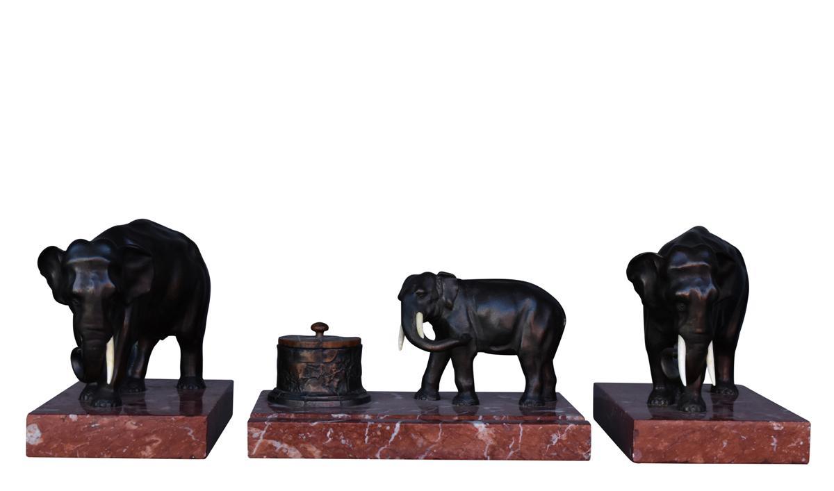 Bronze Desk Set With Elephants 1900