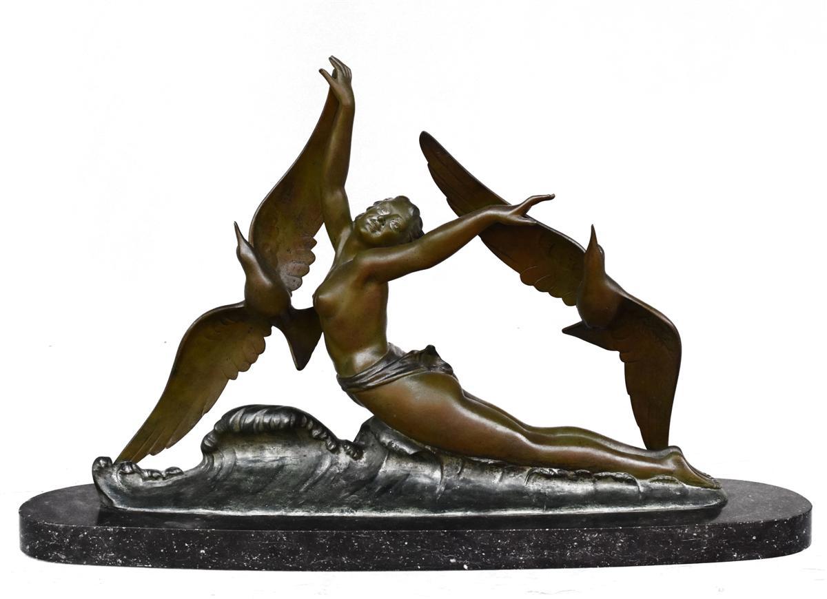 Jeune Fille Aux Oiseaux Bronze 1930 Art Déco Patine Verte De Melani