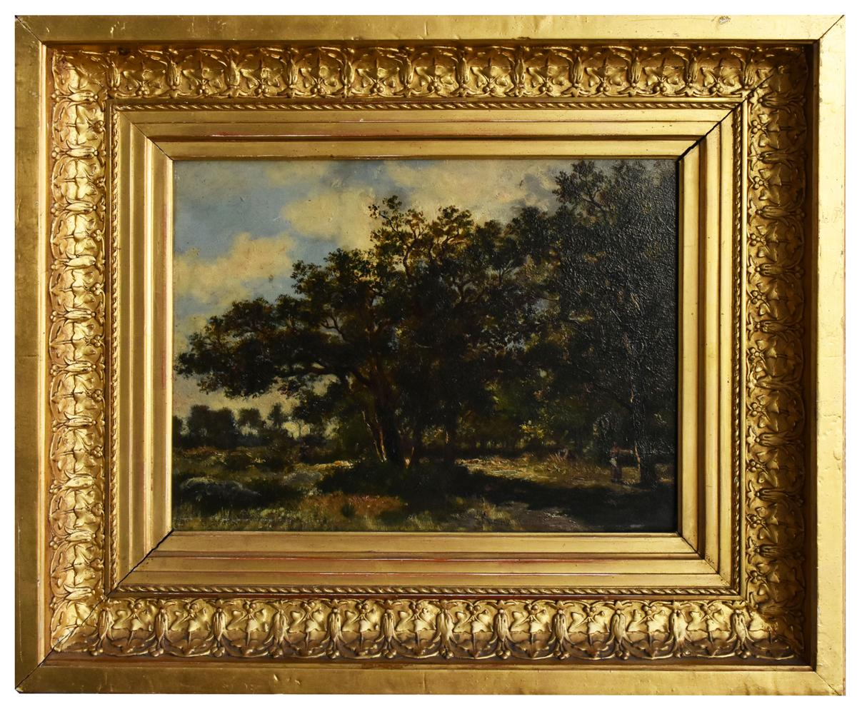 Oil On Panel Foret Of Fontainbleau Ernest Guillemer