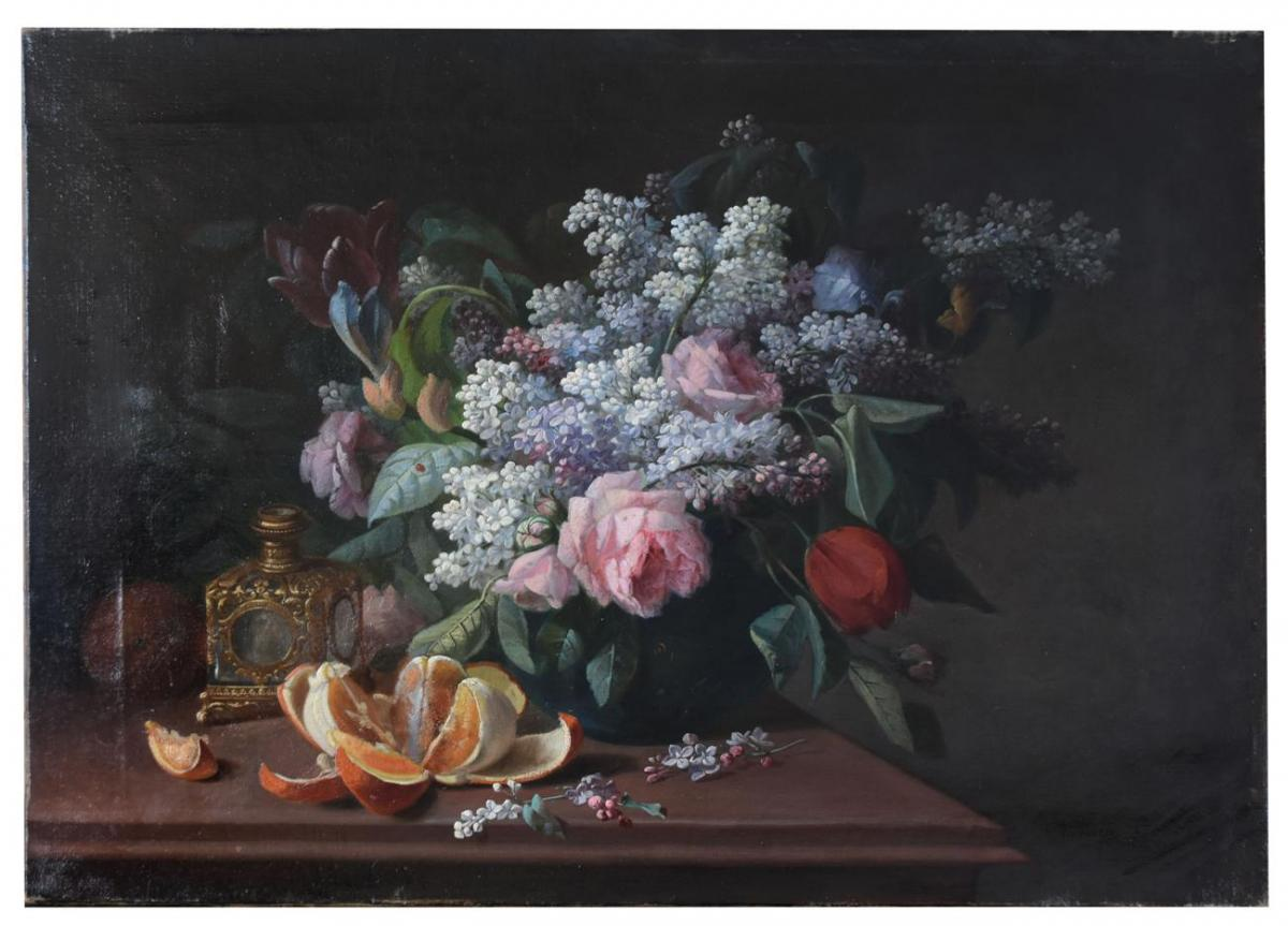 Still Life With Lilac And Mandarin By Pierre Camille Gontier Nineteenth Time
