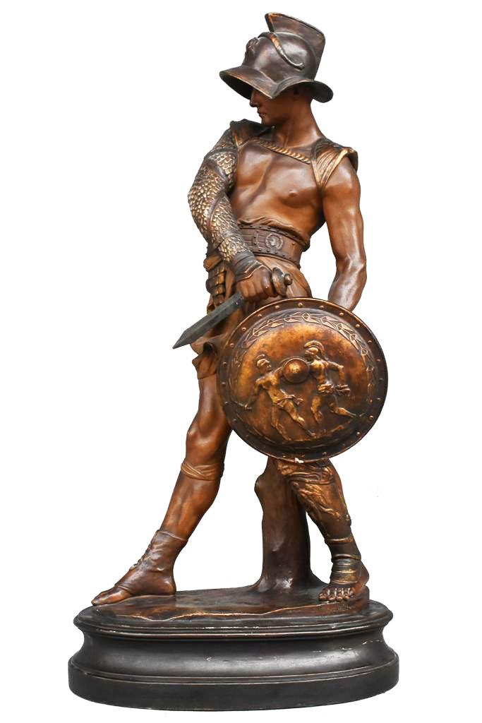 Gladiateur Terre Cuite Polychrome  De Goldscheider époque 1900
