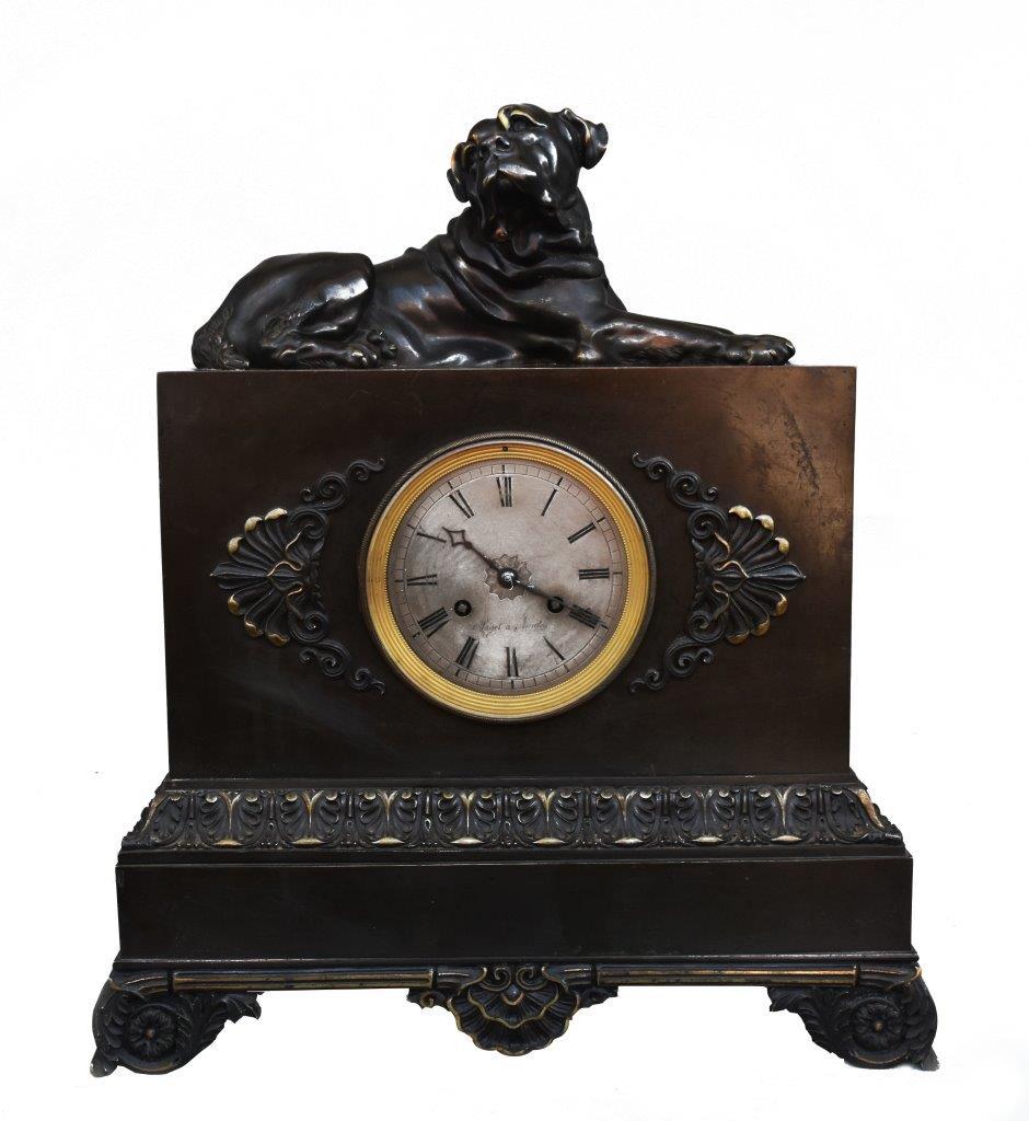 Pendule Au Cane Corso Restauration  Bronze  XIXème