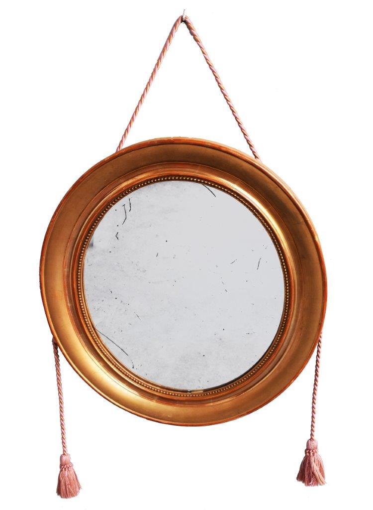 Miroir Rond En Bois Doré Au Perlé De Style Louis Philippe XIXème