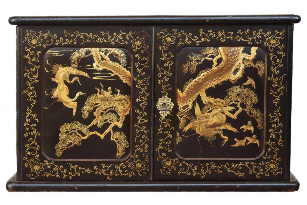 Box Jewelry Japanese Lacquer Decor Birds Nineteenth