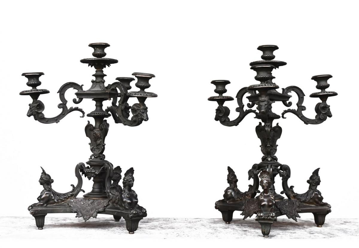 Pair Of Candelabra After A Model Of André Charles Boulle Ep XIXth