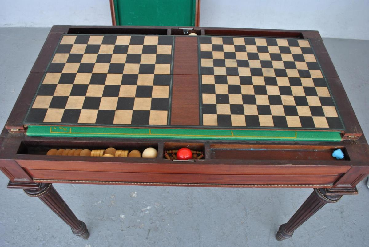 Table Billard Et Roulette Style Louis XVI En Acajou XIXème