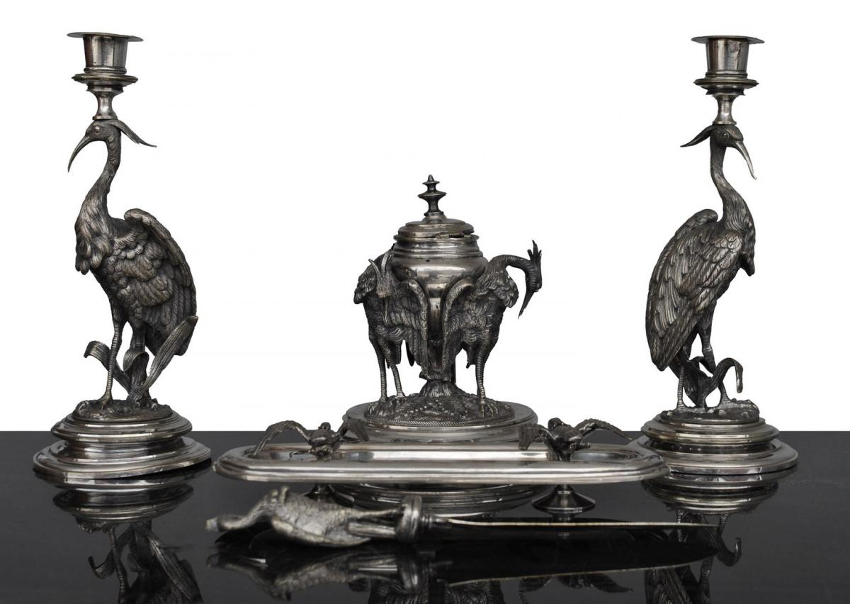 Candlestick Desktop Holder Silver Metal Holder With Herons Late Nineteenth
