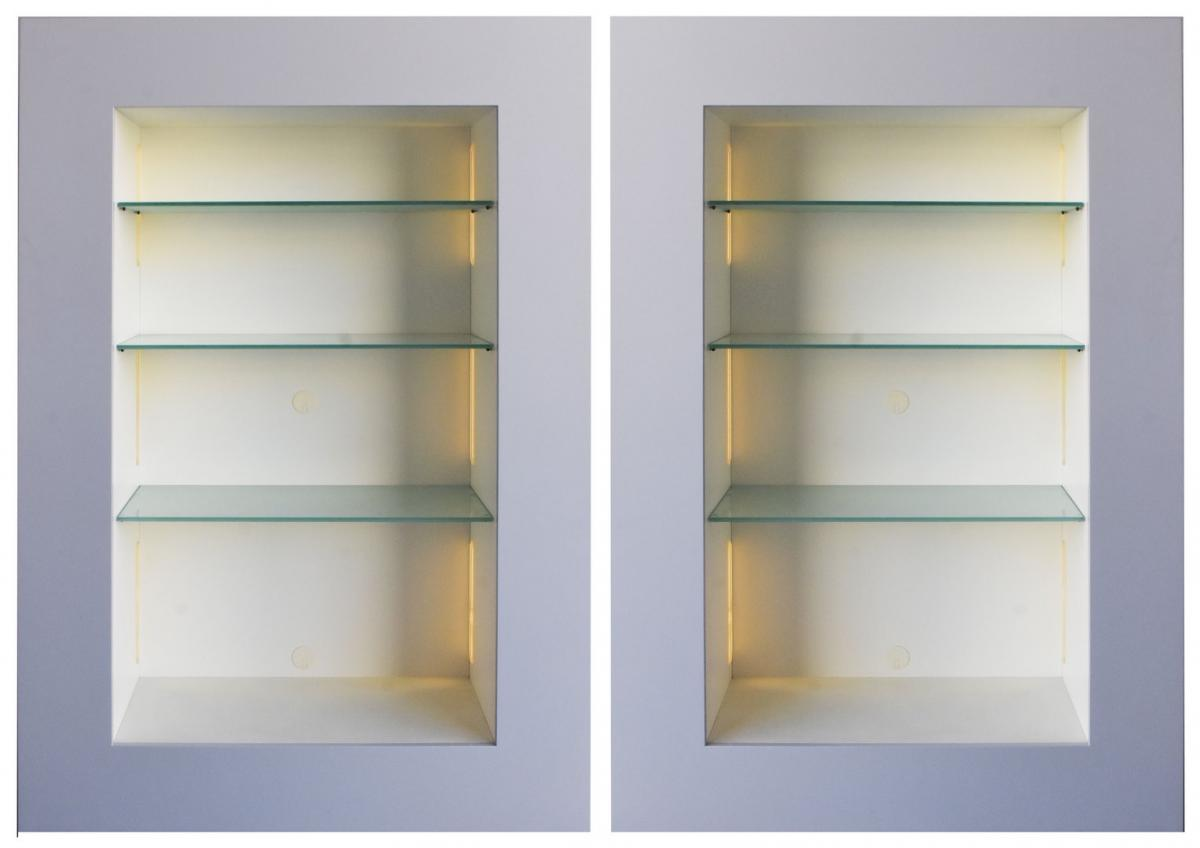 Pair Of Illuminated Display Windows Contemporary Lacquered Wood Collection Acerbis
